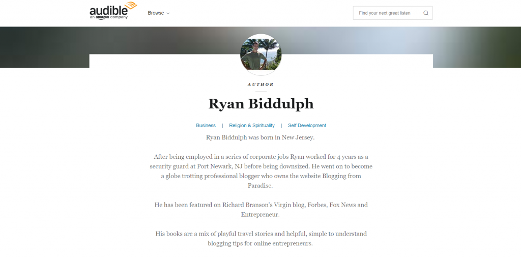 Ryan Biddulph audible