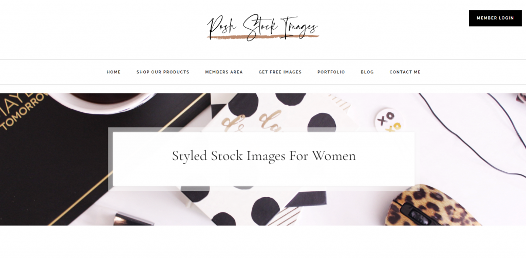 Website posh stock images home page